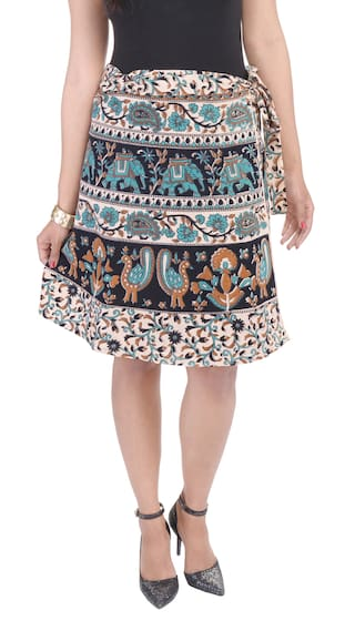 Jaipuri Printed Around Cotton Wrap Knee Skirt Length LFRBqdsFJ