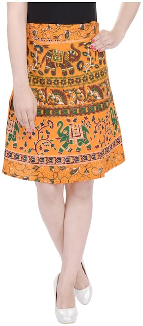 Jaipuri Printed Cotton Knee Length Wrap Around Skirt
