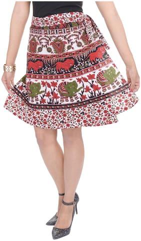 Jaipuri Printed Cotton Knee Length Wrap Around Skirt
