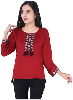 Jaipuri Shop Women Embroidered Regular top - Maroon
