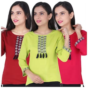 Jaipuri Shop Women Embroidered Regular top - Multi