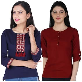 Jaipuri Shop Women Viscose Rayon Round Neck Casual Regular Top (Maroon;Navy Blue)