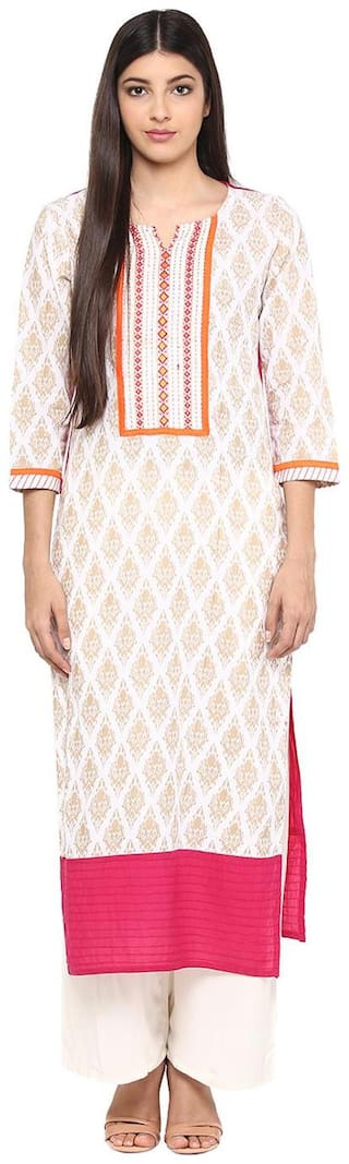 Jaipur Kurti Women Cotton Embroidered Straight Kurta - White