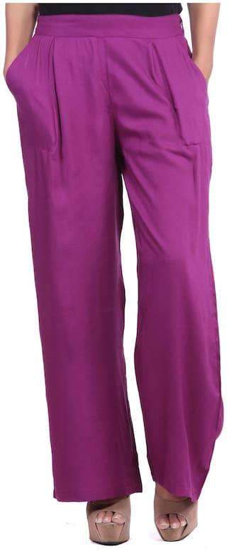Jaipurkurti Purple Rayon Plazzo