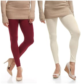 Jakqo Cotton Leggings - Maroon & Cream