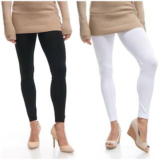 Jakqo Women Cotton Plain Ankle Length Legging -Black;White