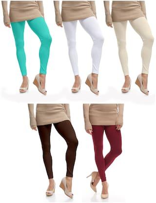 Jakqo Womens Cotton Plain Ankle Length Legging Multi