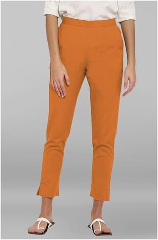 Janasya Women Mustard Regular fit Regular pants