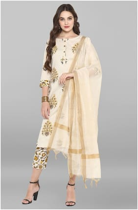 Janasya Women Cream Floral Straight Kurta With Pants And Dupatta