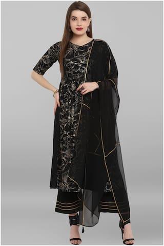 Janasya Crepe Long Partywear Suit Set Black color