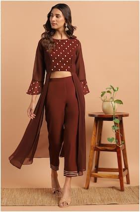Janasya Georgette Ethnic Motifs Brown Top Pants Without Dupatta Women