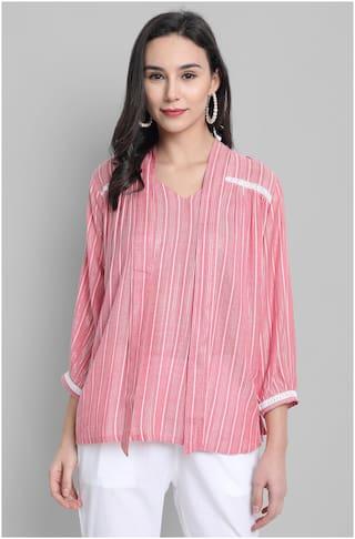 Janasya Viscose Rayon Pink Striped A Line  For Women