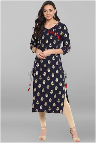Janasya Women Blue Solid Straight Kurta