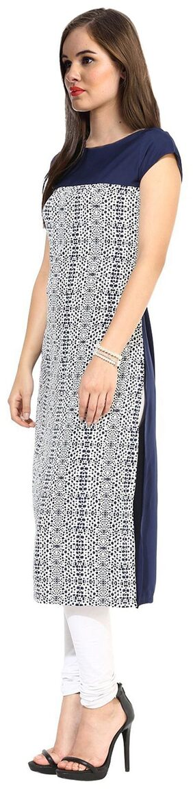 Janasya Women Crepe Printed Straight Kurta - Blue