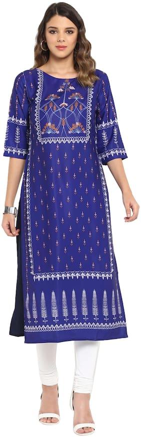 Janasya Women Crepe Floral Straight Kurta - Blue