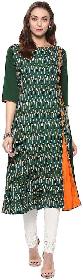 Janasya Women Crepe Abstract A line Kurta - Green