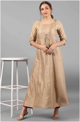 Janasya Women Silk Solid A line Kurti - Beige