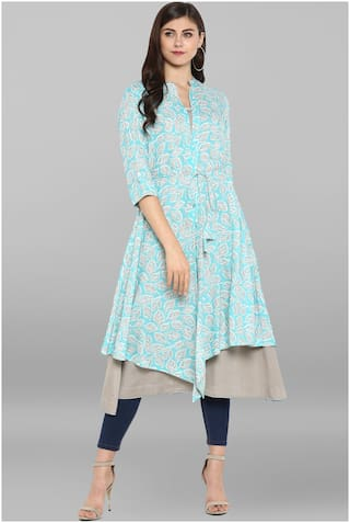 Janasya Women Cotton Printed A line Kurta - Multi