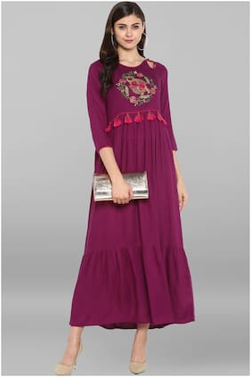Janasya Women Rayon Embroidered A line Kurta - Purple