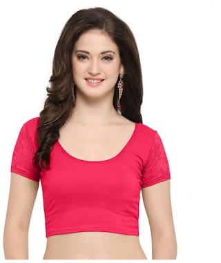 9eee6f88799a24 Buy Janasya Women's Cotton Lycra Stretchable Readymade Blouse Online ...