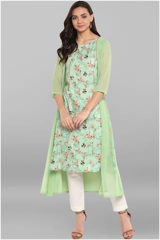 Janasya Women Green Crepe Kurta