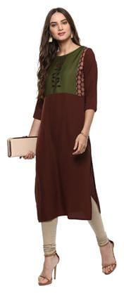 Janasya Women Crepe Floral Straight Kurta - Brown