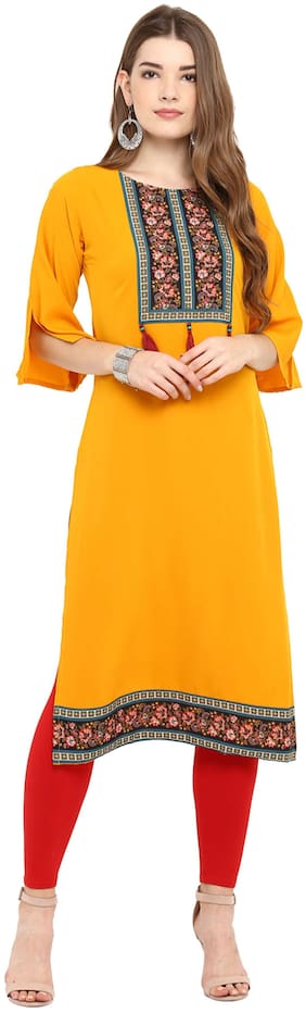 Janasya Women Crepe Floral Straight Kurti - Yellow