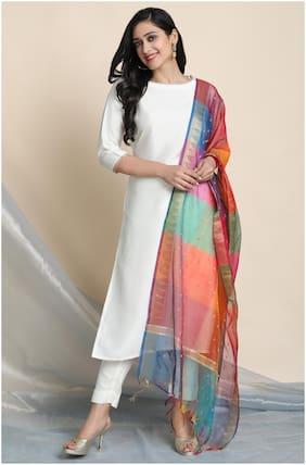 Janasya Women White Solid Straight Kurta With Pants And Dupatta