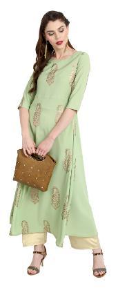 Janasya Women Crepe Solid A Line Kurta - Green