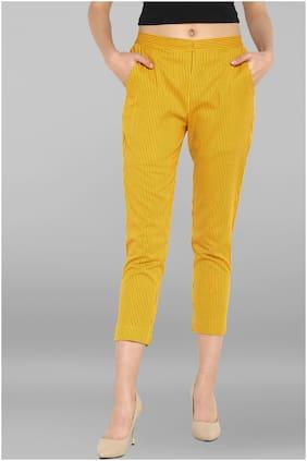 Janasya Women Narrow fit Low rise Printed Regular pants - Yellow