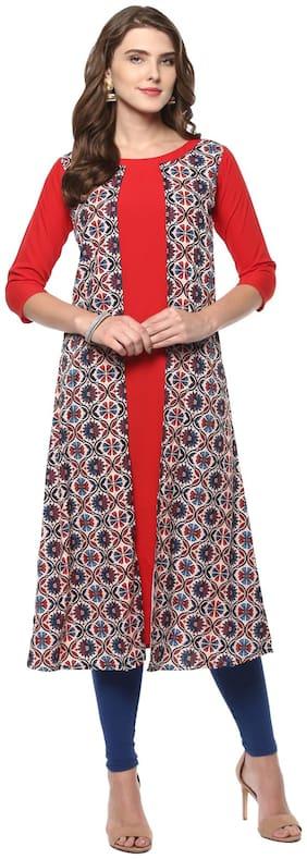 Janasya Women's Red Crepe A-Line Floral Print Kurti