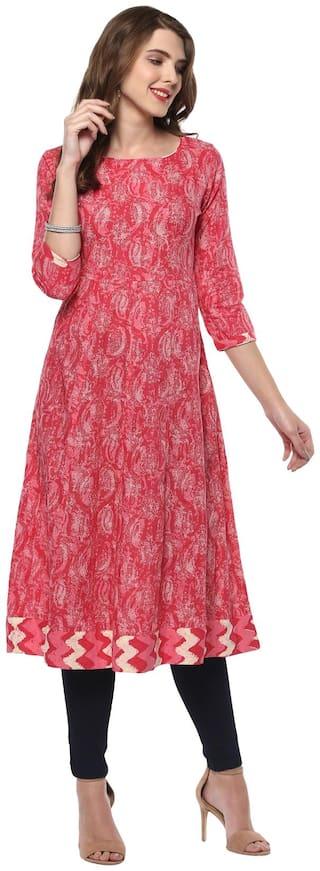 Janasya Women Pink Printed Fit and Flare Kurta