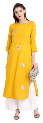 Janasya Women Cotton Embroidered Straight Kurta - Yellow