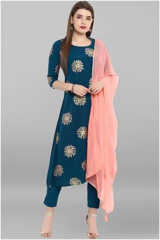 Janasya Women Turquoise Crepe Kurta With Pant And Dupatta