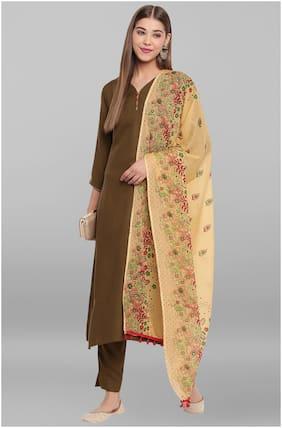 Janasya Women's Olive Green Rayon Kurta With Pant And Dupatta