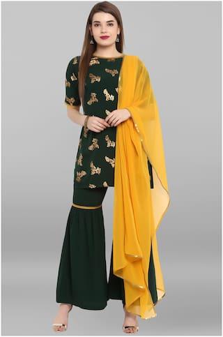 Janasya Women  Green Crepe Kurti With Sharara With Dupatta