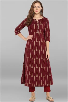 Janasya Women Cotton Solid Anarkali Kurta - Maroon