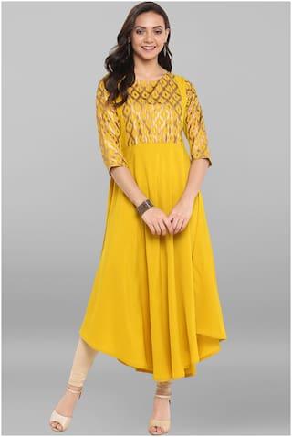 Janasya Women Yellow Crepe Kurta