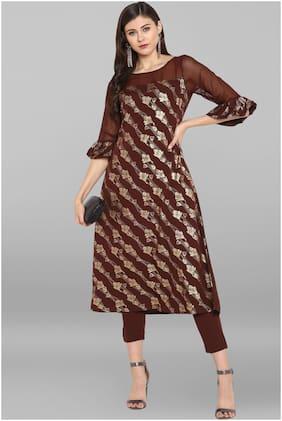 Janasya Womens Crepe Foil Printed A-Line Kurta With Narrow Pant