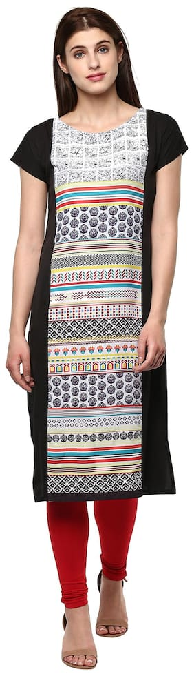 Janasya Women Crepe Printed Straight Kurti - Multi
