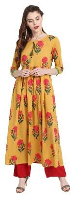 Janasya Women Cotton Floral Anarkali Kurta - Yellow
