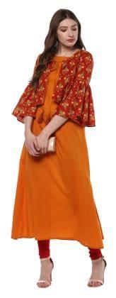 Janasya Women Cotton Floral Layered Kurta - Yellow
