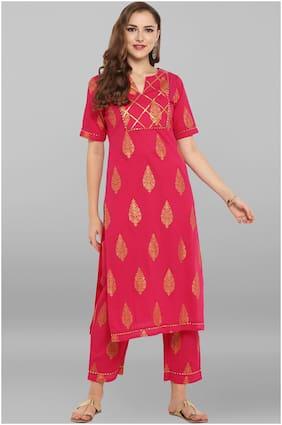 Janasya Women Red Solid Straight Kurta With Pants