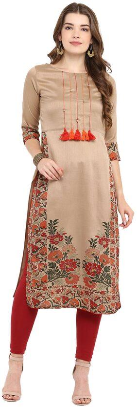 Janasya Women Silk Floral Straight Kurti - Brown
