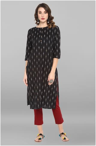 Janasya Women Black Printed Straight Kurta