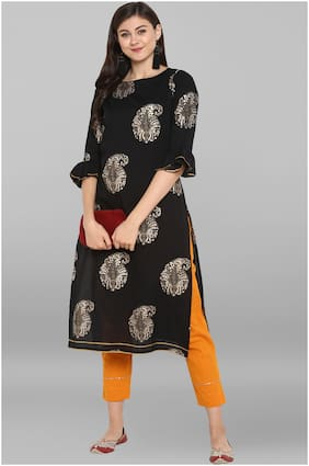 Janasya Women Black Printed Straight Kurta With Pants