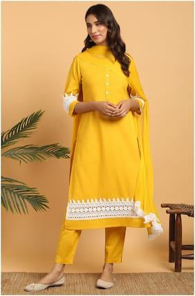 Janasya Women Mustard Solid Straight Kurta With Pants And Dupatta