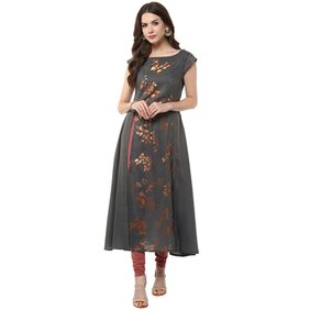Janasya Women's Grey Anarkali Casual Crepe Kurti