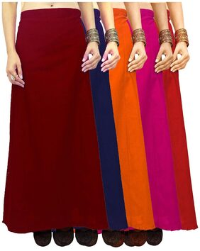 Javuli Soft Poplin Pure Cotton saree Petticoat Inskirt-in-red-pink-orange-navy-maroon
