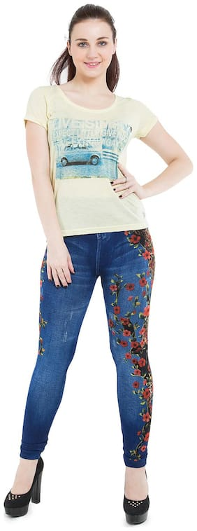 BURDY Women Regular Fit Mid Rise Solid Jegging - Blue